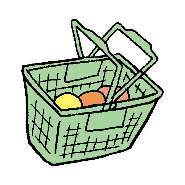 スーパーのカゴのイラスト