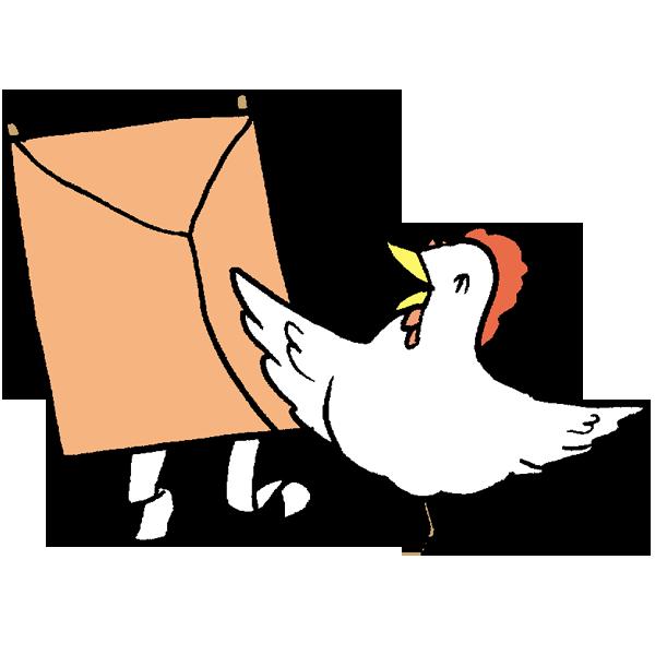 凧揚げと鳥のイラスト