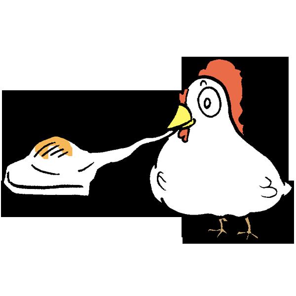 お餅を食べる鳥のイラスト