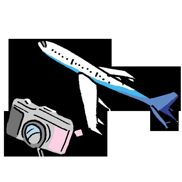 飛行機とカメラのイラスト