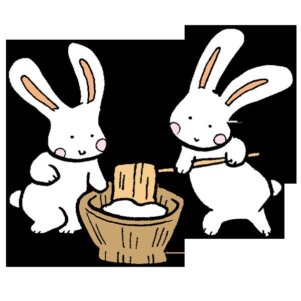 ウサギの餅つきその1のイラスト