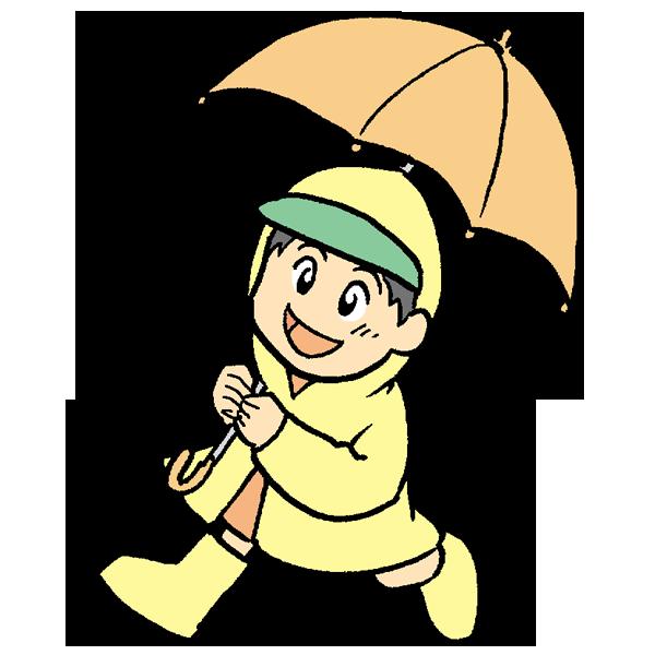 傘をさしている男の子のイラスト
