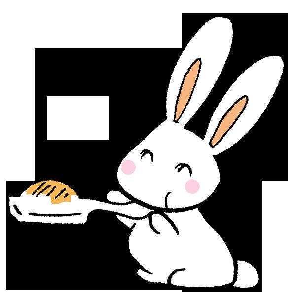 お餅を食べるうさぎのイラスト