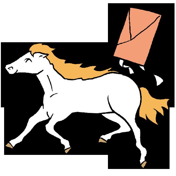 馬と凧揚げのイラスト