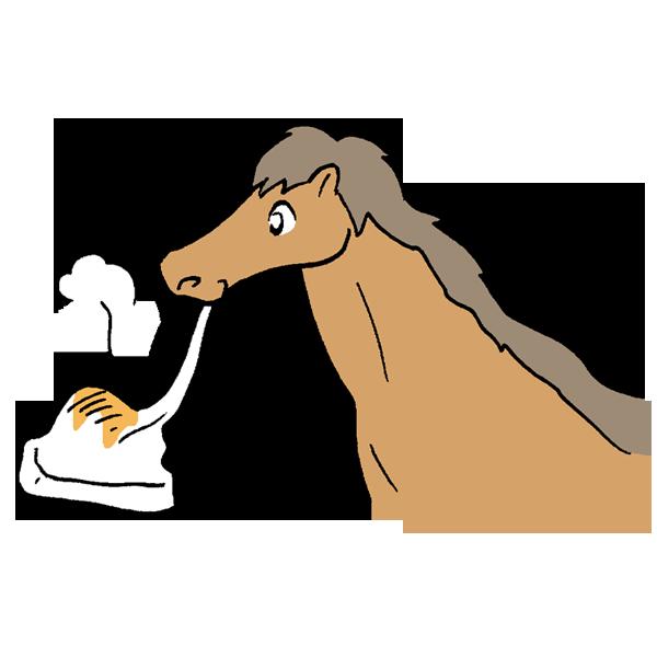 お餅を食べる馬のイラスト