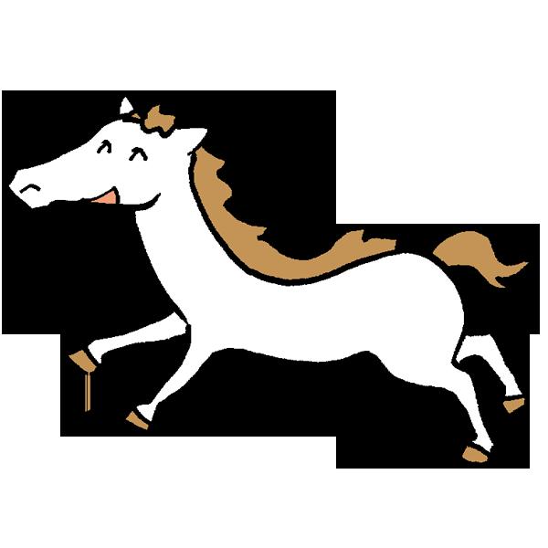 仔馬白馬のイラスト