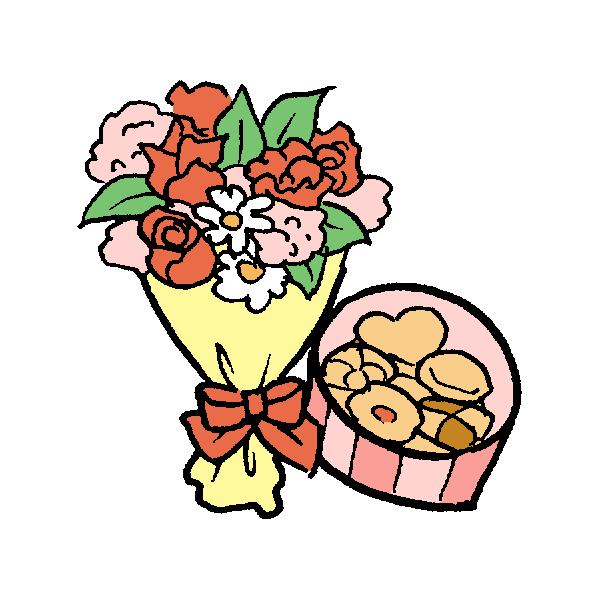 花束とクッキーのイラスト
