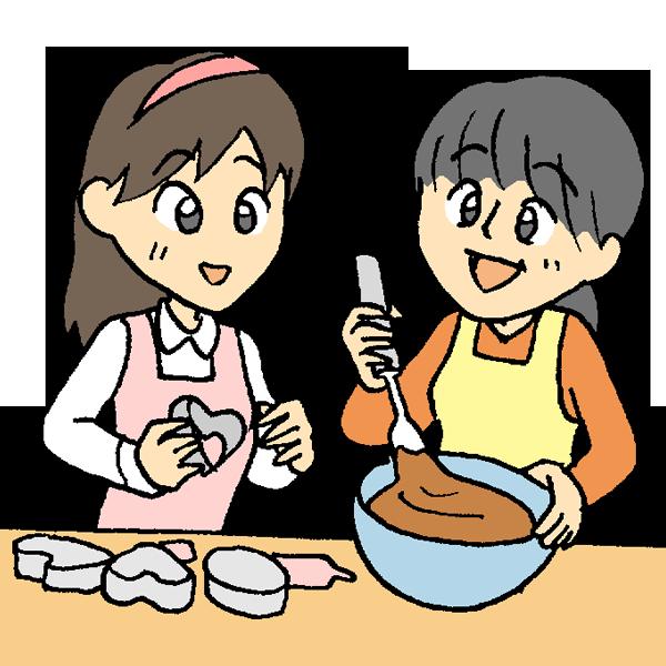 チョコレート作りをする娘と母のイラスト