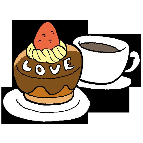 チョコレートケーキとコーヒーのイラスト