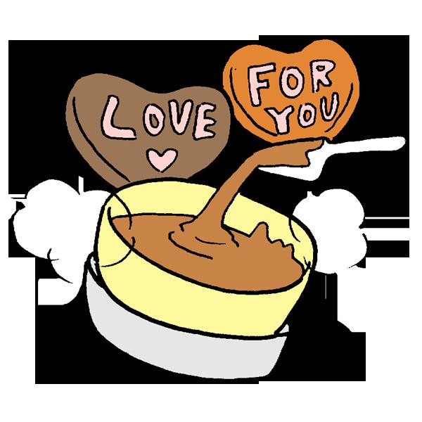 湯せんチョコレートのイラスト