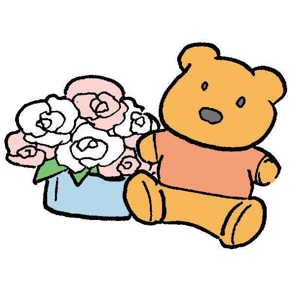 くまと花のイラスト