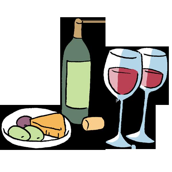 ワインとチーズとオリーブのイラスト