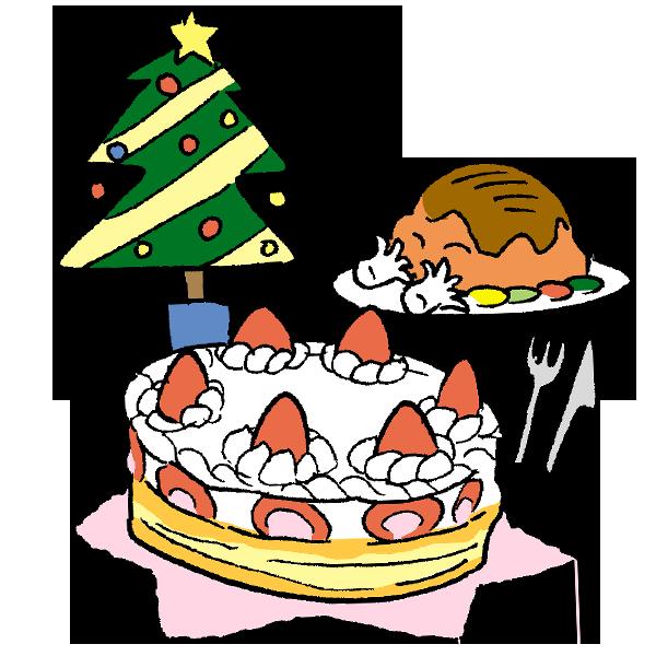 ケーキとツリーのイラスト