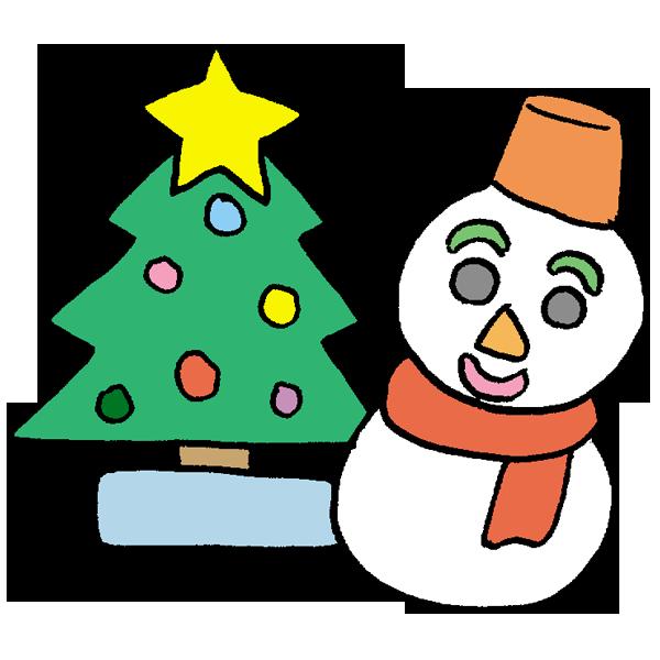 ツリーと雪だるまのイラスト