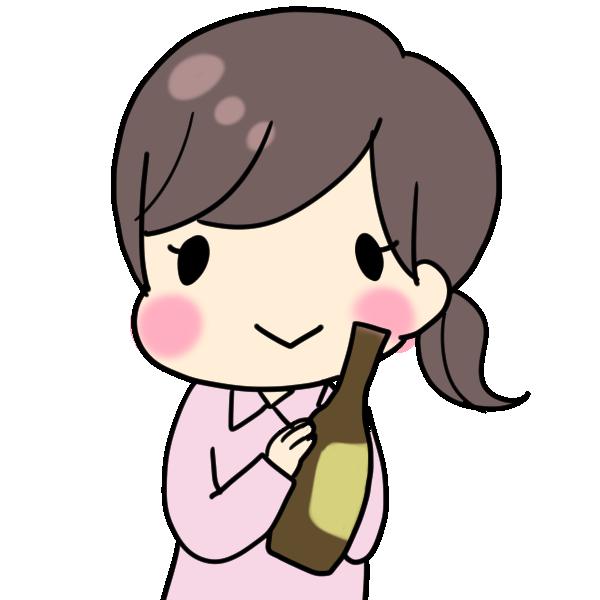 ビール瓶を持つ女性のイラスト