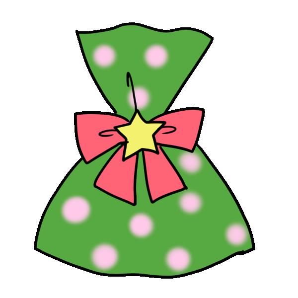 緑のラッピングのプレゼントのイラスト