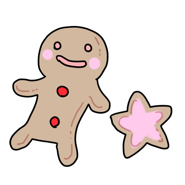 人形と星のクッキーのイラスト
