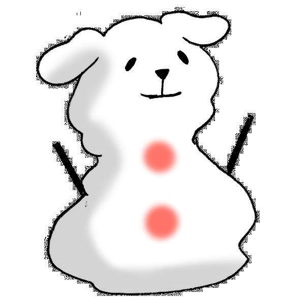 戌の雪だるまのイラスト