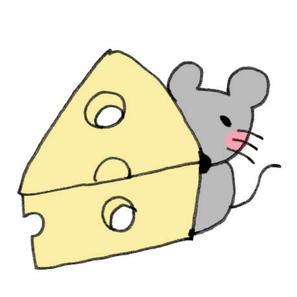 チーズに隠れるネズミのイラスト