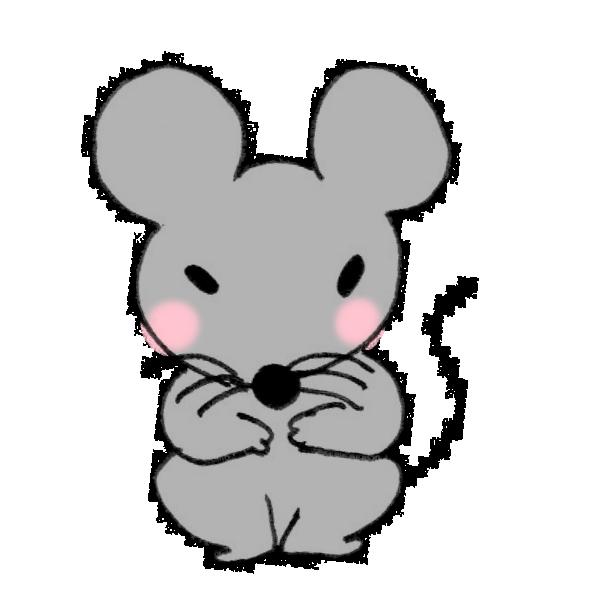 ちょこんと座るネズミのイラスト