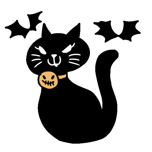 首輪を付けた黒猫のイラスト