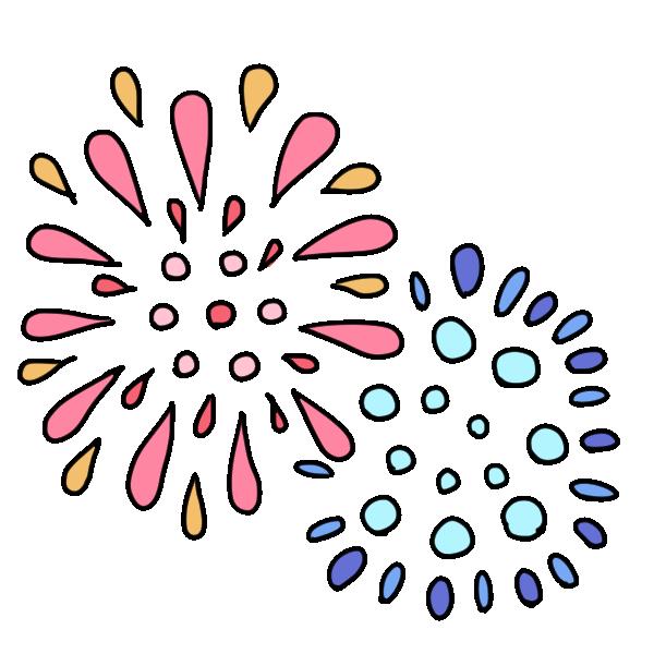赤と青の花火のイラスト