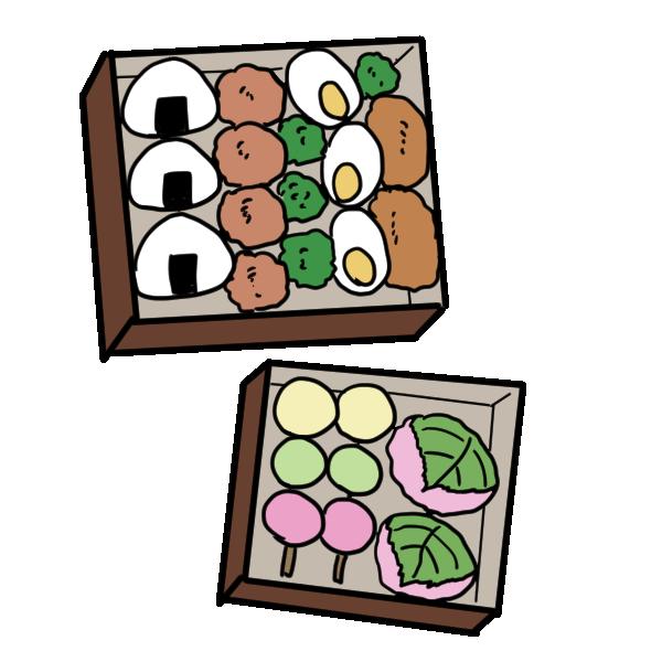 お弁当(唐揚げとお団子)のイラスト