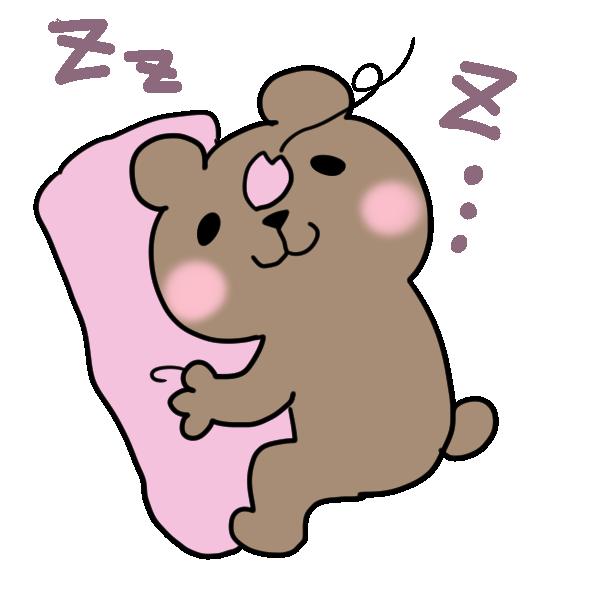 昼寝をしているクマのイラスト