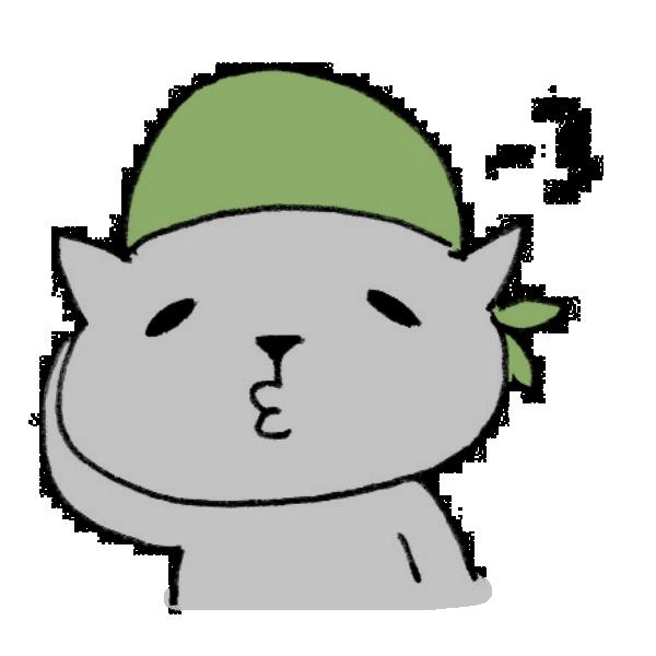 バンダナを頭に巻くネコのイラスト