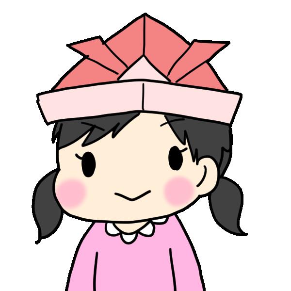 赤い兜をかぶる女の子のイラスト