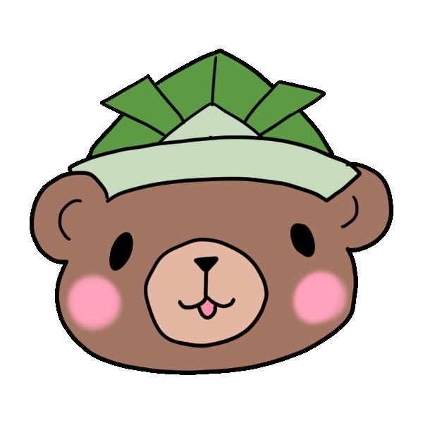 緑の兜をかぶるクマのイラスト