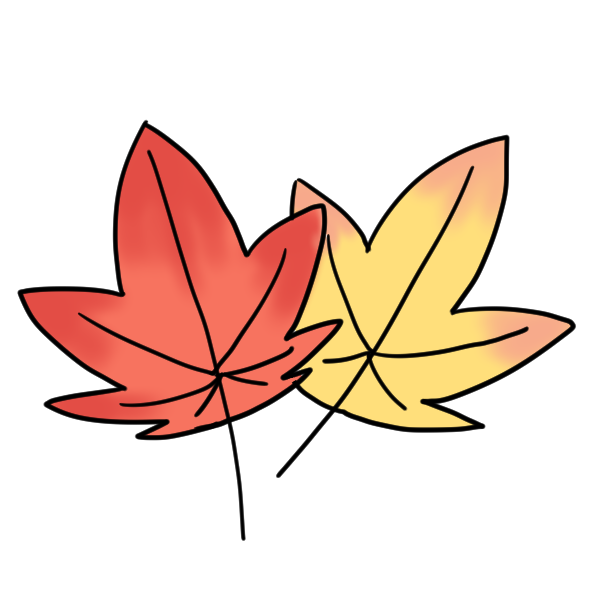 赤と黄色の紅葉のイラスト