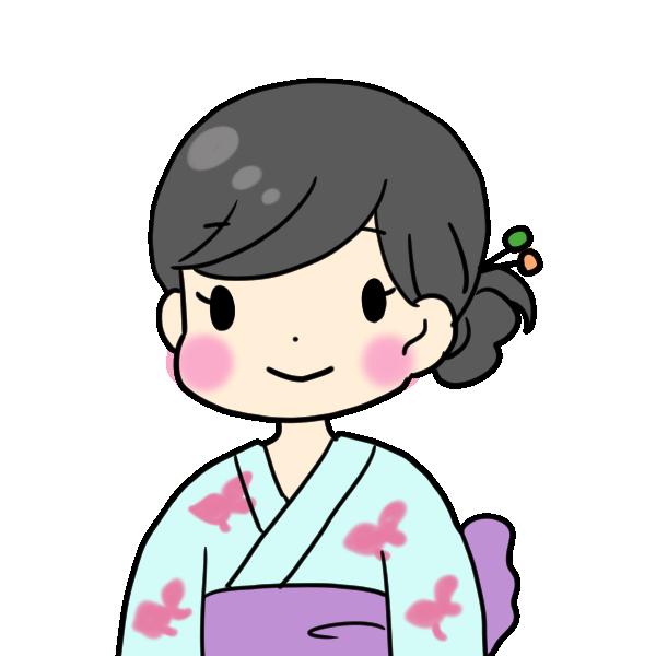 水色の浴衣を着た女性のイラスト