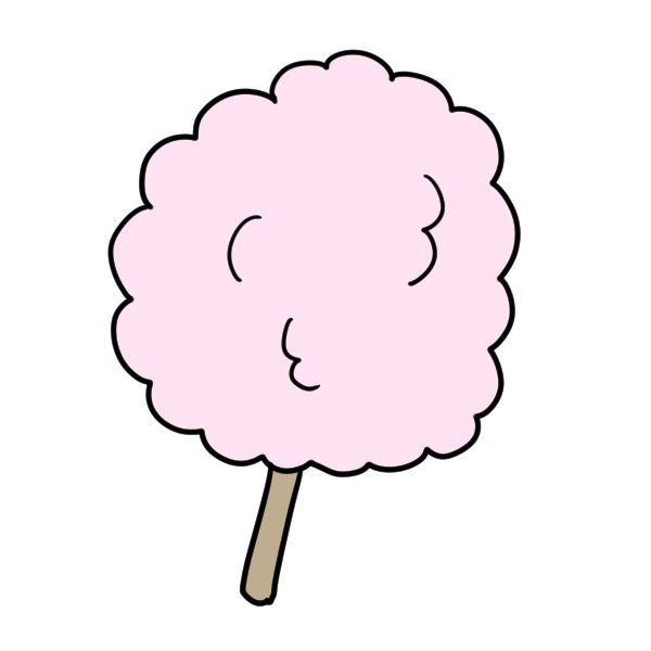 ピンクのわたあめのイラスト