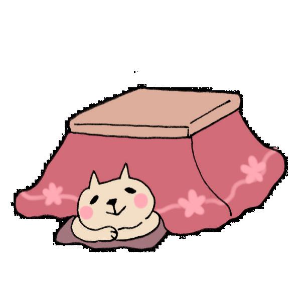 コタツでまったりするネコのイラスト