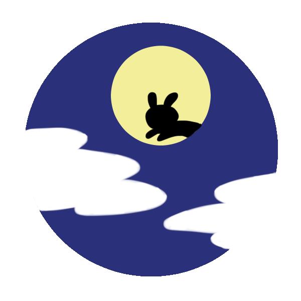 満月と雲のイラスト