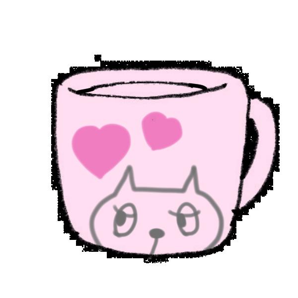ネコのマグカップのイラスト