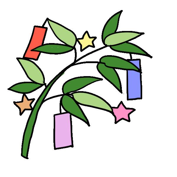 笹と短冊のイラスト