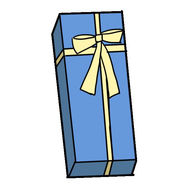 青いラッピングのプレゼントのイラスト