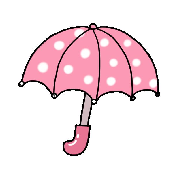 ピンク水玉の傘のイラスト
