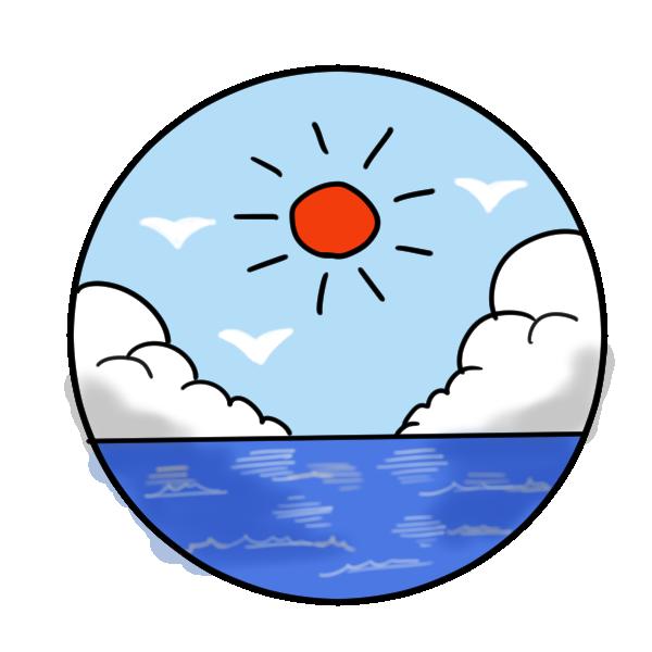 太陽と入道雲と海のイラスト