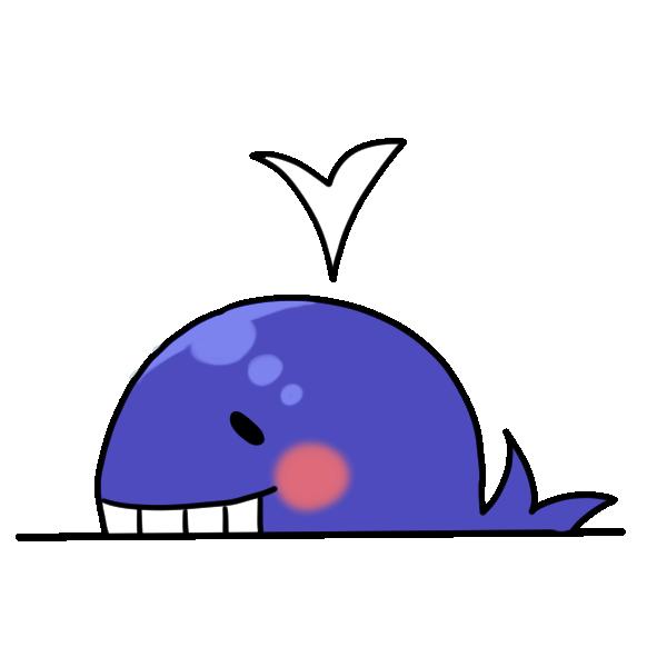 にっこり笑うクジラのイラスト