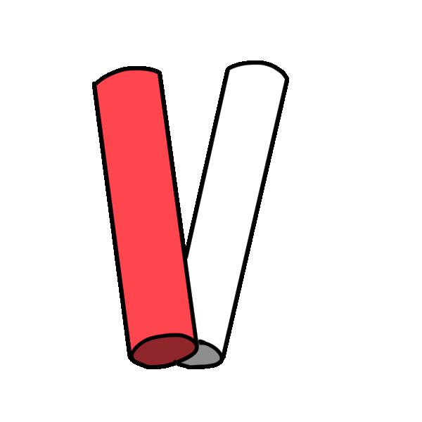 紅白のバトンのイラスト