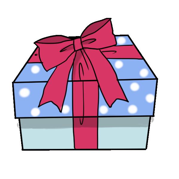青いプレゼント箱のイラスト