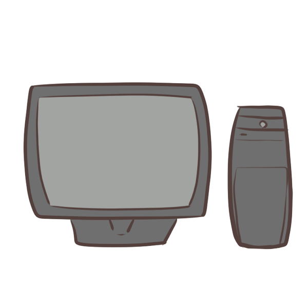 モニターとハードのイラスト