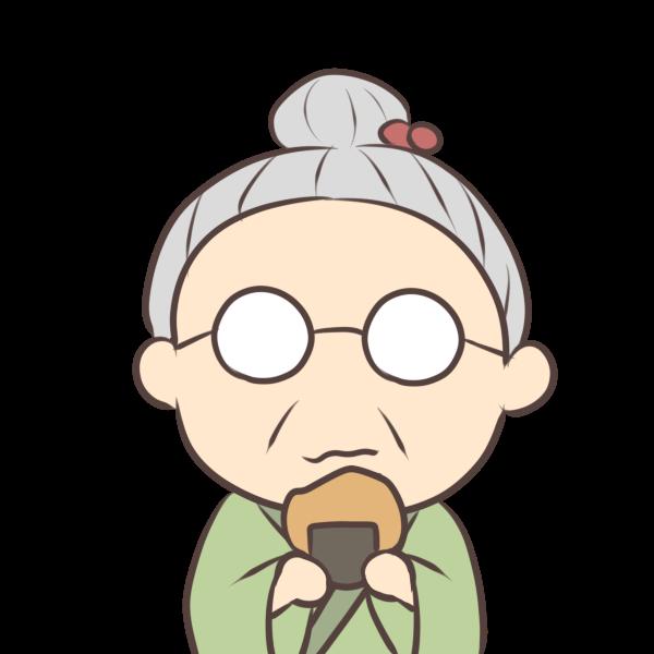 お煎餅を食べるおばあちゃんのイラスト