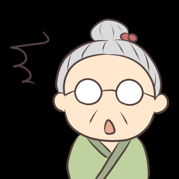 ビックリおばあちゃんのイラスト かわいいフリー素材が無料のイラストレイン