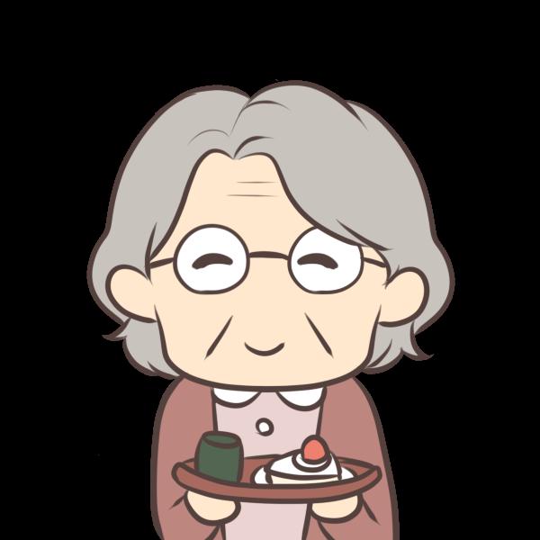 お茶菓子をくれるおばあちゃんのイラスト