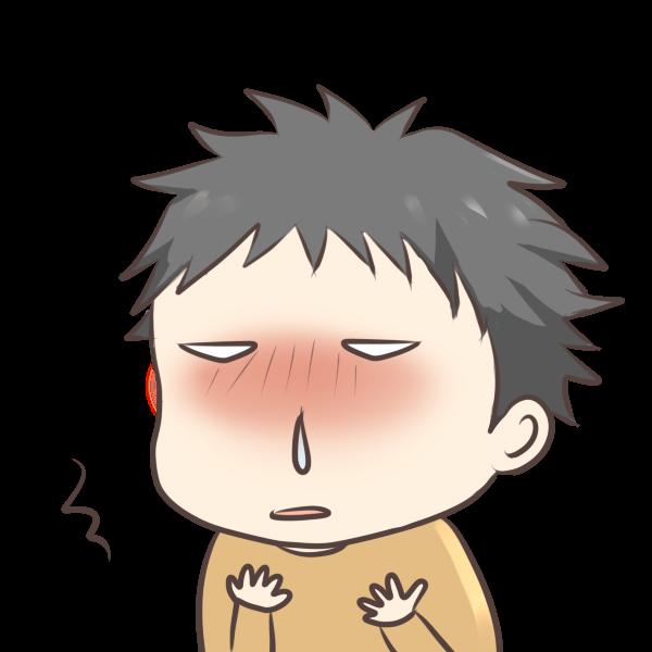 鼻水が出る男の子のイラスト