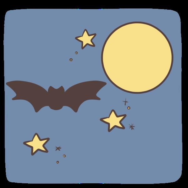 夜空を飛ぶコウモリのイラスト
